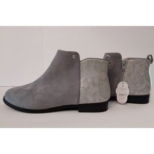 Girls Gray Faux Snakeskin & Suede Booties 6 Nwt!